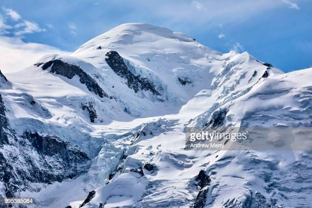 close-up of mont blanc snowcapped summit, peak - pinnacle peak stock pictures, royalty-free photos & images