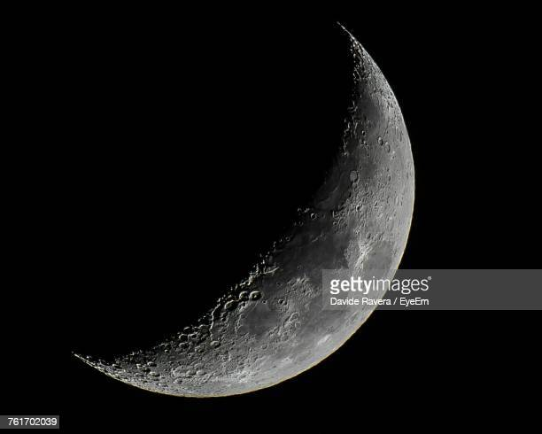 Close-Up Of Moon Against Clear Sky At Night