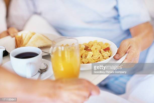 Closeup of morning breakfast being served in bed