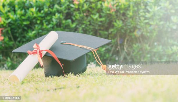 close-up of mortarboard and diploma on grassy field - mortar board stock pictures, royalty-free photos & images