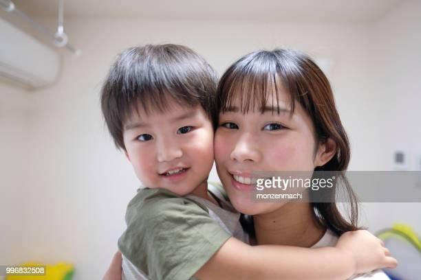 母と子のクローズ アップ