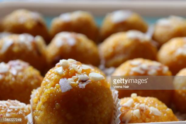 close-up of motichoor laddoo/laddu/diwali festival/india - ahmedabad stock pictures, royalty-free photos & images