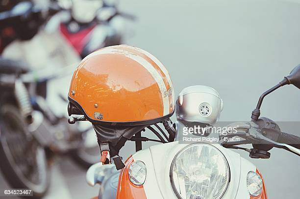 Close-Up Of Motorcycle And Helmet