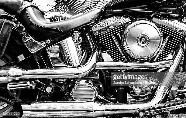 Close-Up Of Motorcycle In Parking Lot