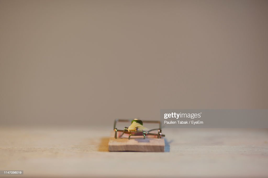 Close-Up Of Mousetrap On Table Against Beige Background : Stockfoto