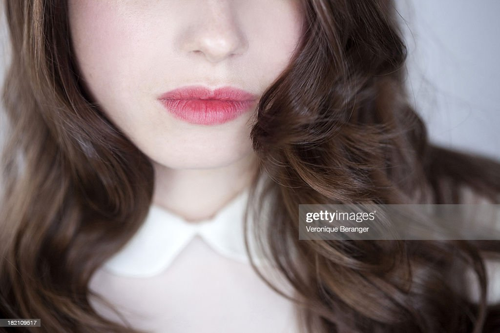 Close-up of mouth and hair. : Stock Photo