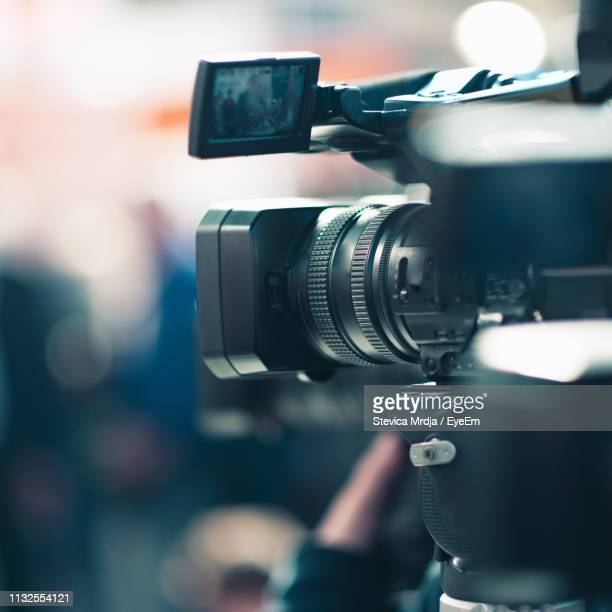 close-up of movie camera at studio - television camera stock pictures, royalty-free photos & images