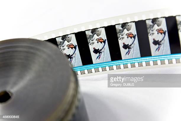 close-up of movie film reel frame - colors soundtrack stock pictures, royalty-free photos & images