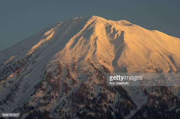 Close-up of Mt Yotei at dusk in March.