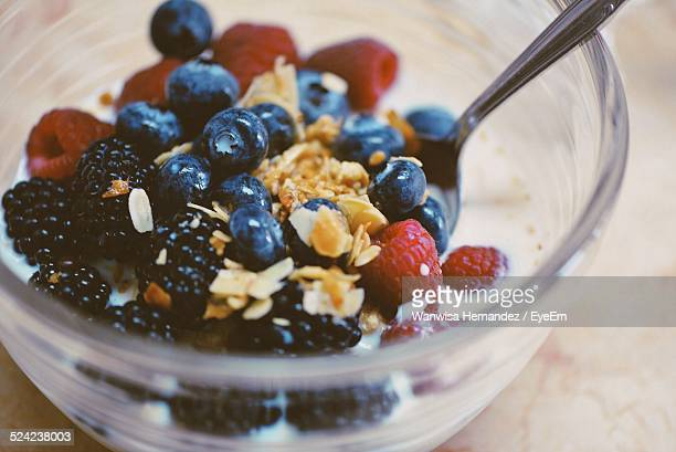 Close-Up of Muesli With Fruits In Bowl