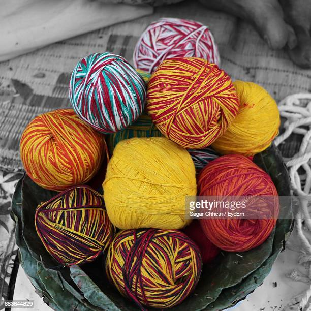 Close-Up Of Multi Colored Balls Of Wool