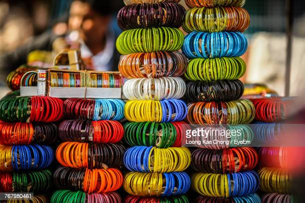 Close-Up Of Multi Colored Bangles In Store