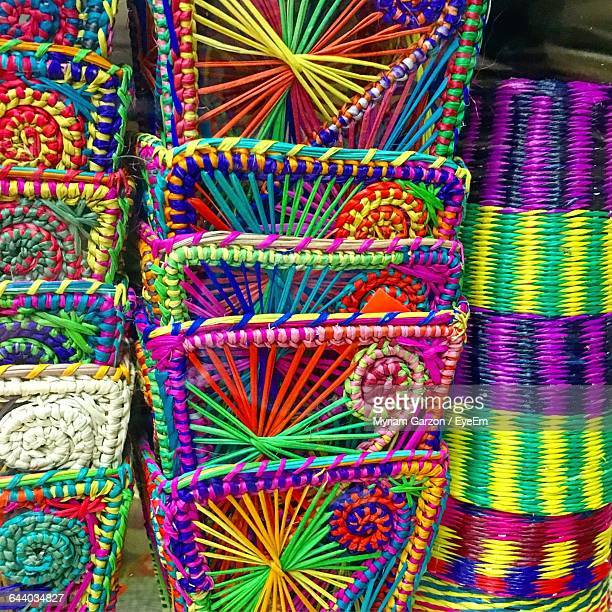 close-up of multi colored basket on display - guayaquil fotografías e imágenes de stock