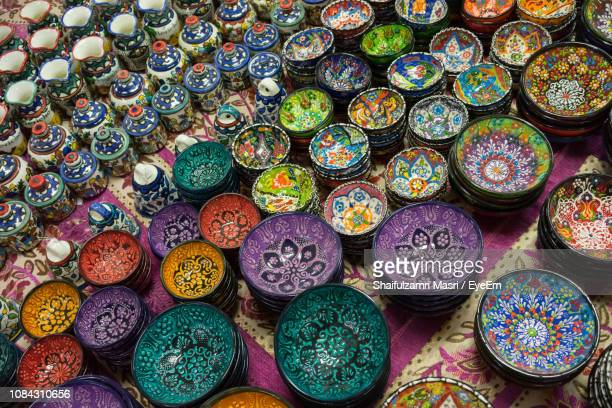 Close-Up Of Multi Colored Ceramics For Sale In Market