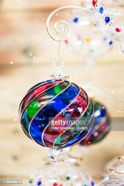 close-up of multi colored christmas decoration - bicester village stock pictures, royalty-free photos & images