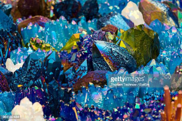 close-up of multi colored crystals - crystal stock pictures, royalty-free photos & images