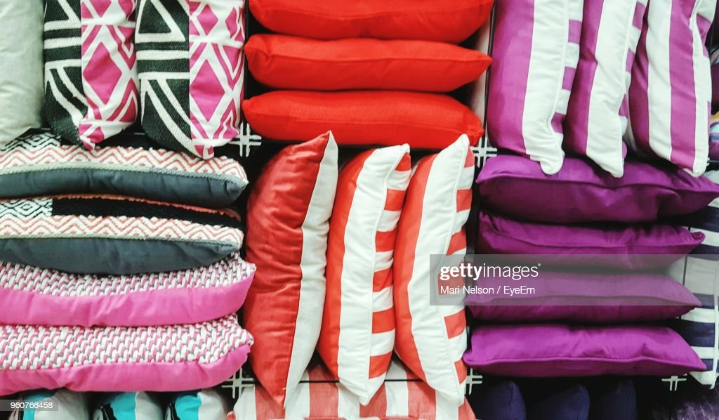 Close-Up Of Multi Colored Cushions At Store For Sale : Stock Photo