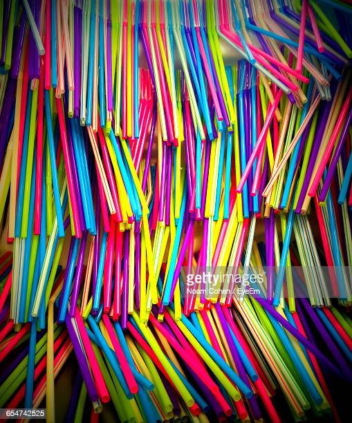 Close-Up Of Multi Colored Drinking Straws