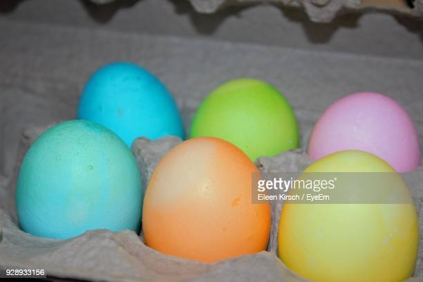 close-up of multi colored easter eggs - eileen kirsch stock pictures, royalty-free photos & images