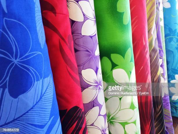 Close-Up Of Multi Colored Fabric At Store