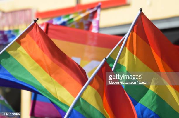 close-up of multi colored flag -  lgbtqi ストックフォトと画像