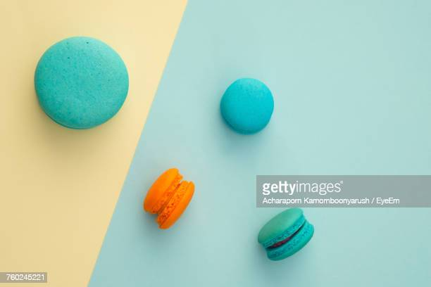 close-up of multi colored macaroons - macarons stock photos and pictures