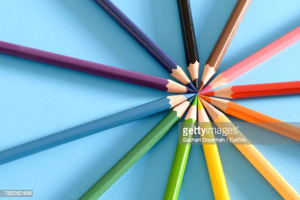 close-up of multi colored pencils - color pencil stock pictures, royalty-free photos & images