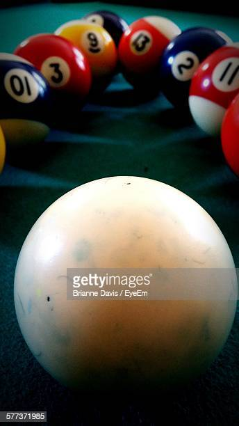close-up of multi colored pool balls on table - brianne stock pictures, royalty-free photos & images