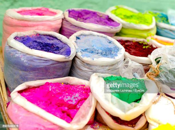 close-up of multi colored powder paints for sale - karnataka stock pictures, royalty-free photos & images