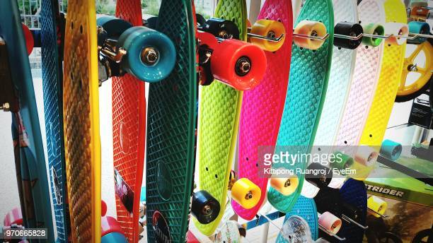 Close-Up Of Multi Colored Skateboard At Shop For Sale