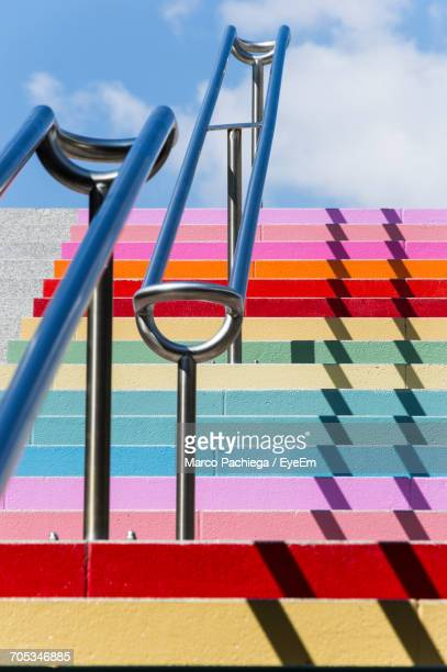 close-up of multi colored steps - veiligheidshek stockfoto's en -beelden