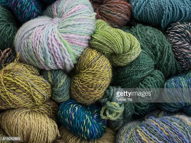 Close-up of multi colored yarn balls