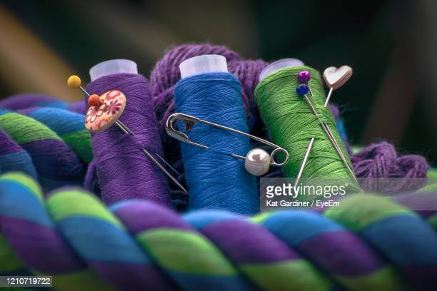 close-up of multi colored yarn. - needlecraft stock pictures, royalty-free photos & images