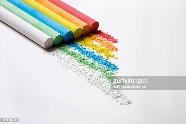 Close-up of multi-colored chalk sticks