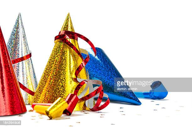 Close-up of multicoloured Party Hats isolated on white background