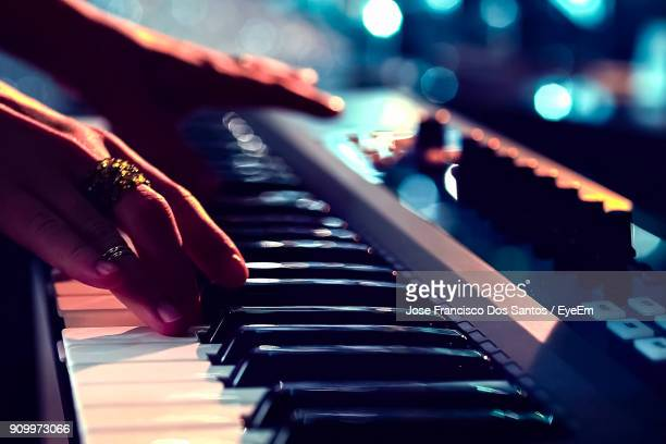 close-up of musician playing piano - keyboard instrument stock photos and pictures