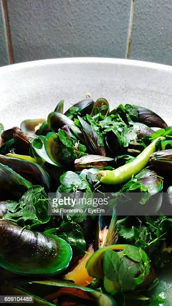 Close-Up Of Mussel Dish Served In Plate