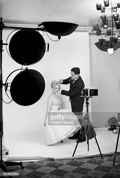 Close-Up Of Mylene Demongeot. Avril 1958. Séance de prise de vue pour l'actrice Mylène DEMONGEOT faite par son mari , le photographe Henri COSTE....