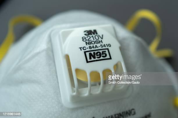 Closeup of N95 respirator mask during an outbreak of COVID19 coronavirus San Francisco California March 30 2020