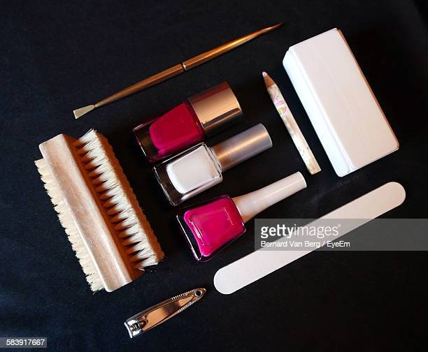 Close-Up Of Nail Art Products Equipment On Table