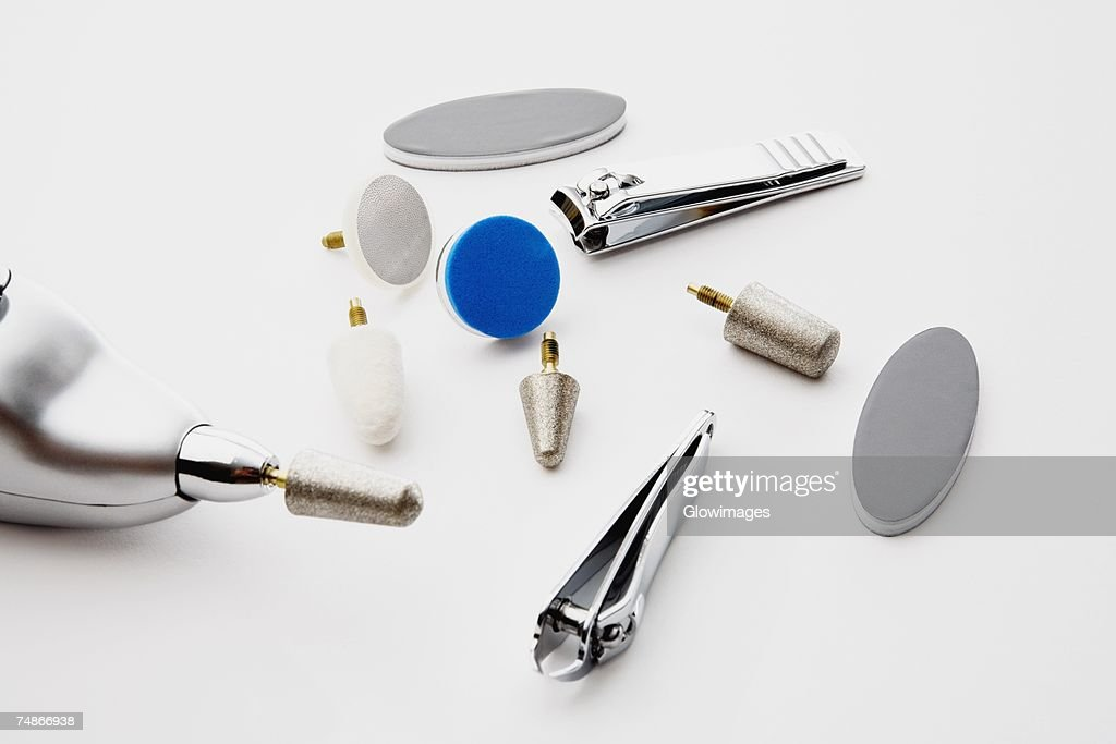 Close-up of nail clippers with nail files : Stock Photo