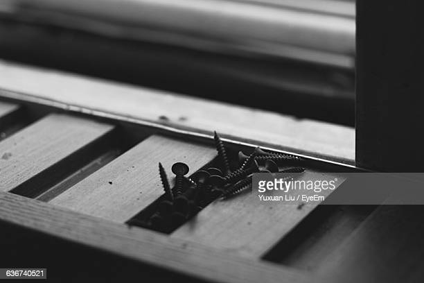 close-up of nails on wood - liu he stock pictures, royalty-free photos & images
