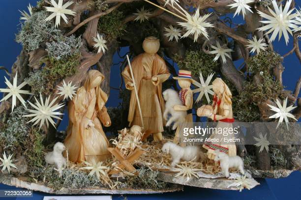 Close-Up Of Nativity Scene During Christmas