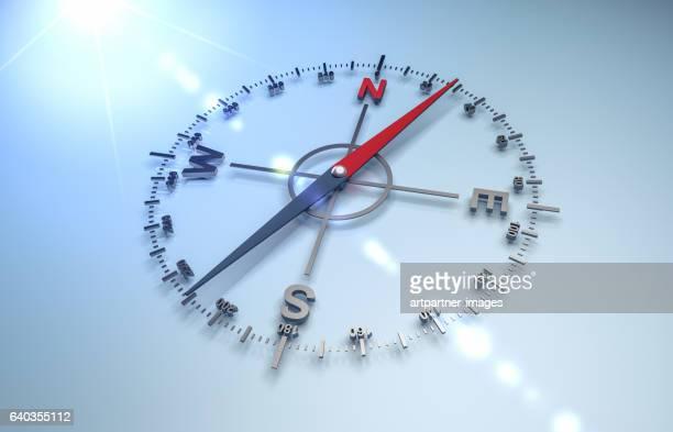 close-up of navigational compass