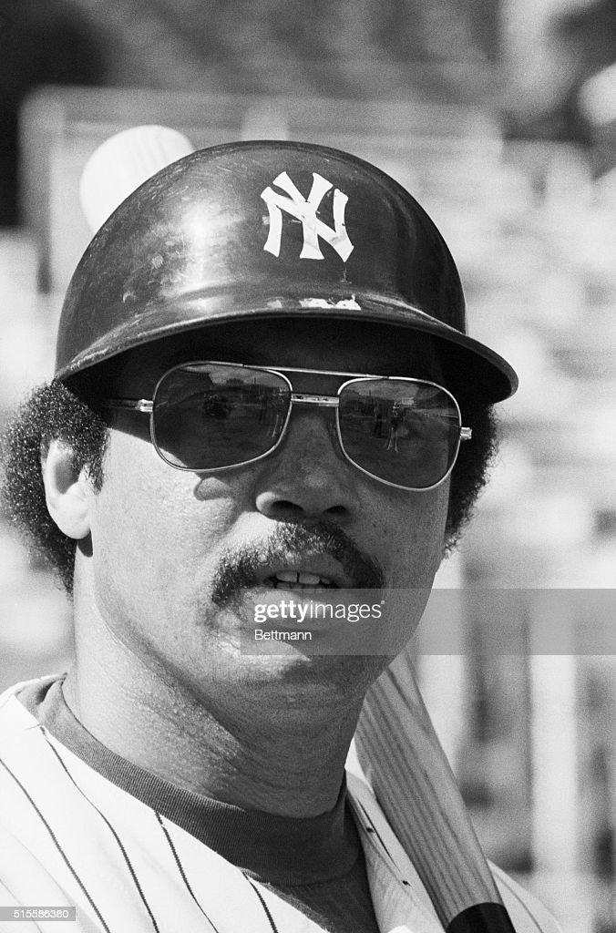 Close-up of New York Yankees' Reggie Jackson.