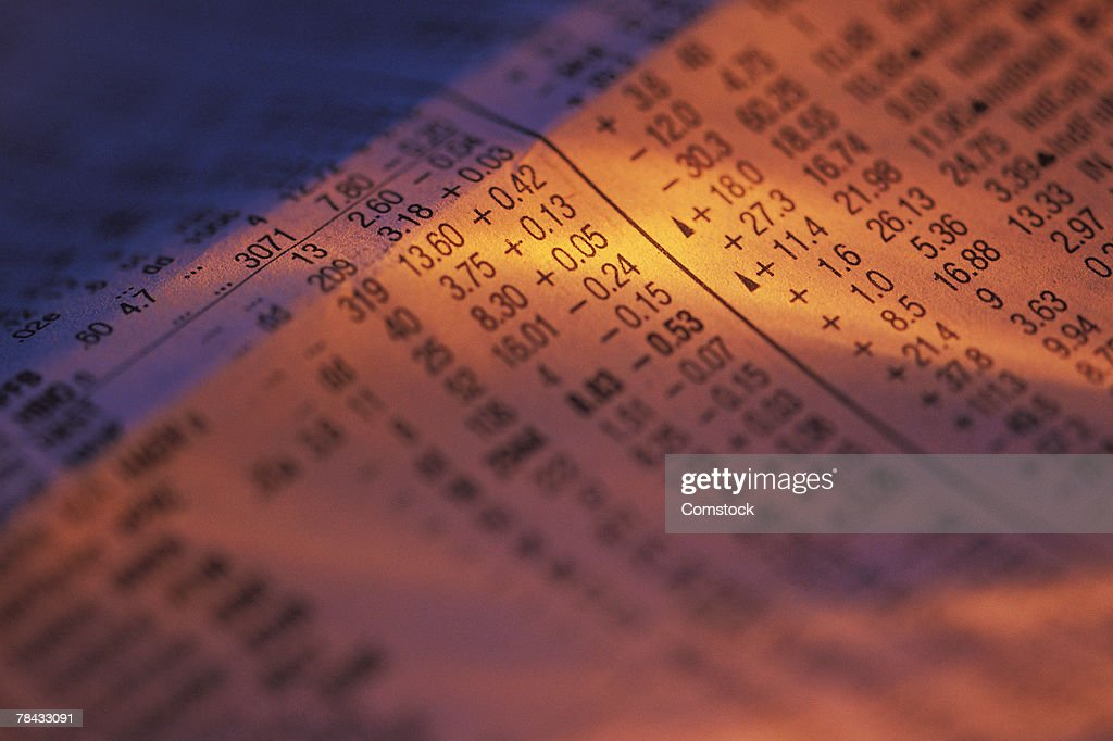 Close-up of newspaper stock report : Stockfoto