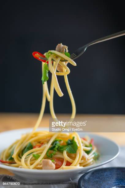 Close-Up Of Noodles Served On Table