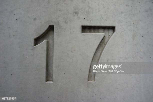 Close-Up Of Number 17 On Wall