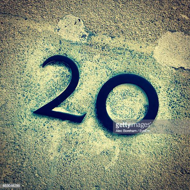 close-up of number 20 on wall - number 20 stock pictures, royalty-free photos & images
