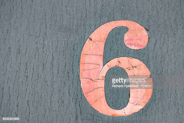 Close-Up Of Number 6 On Cracked Door